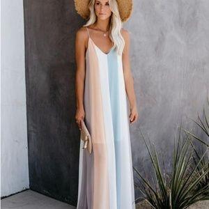 She + Sky Colorblock Maxi Dress - NWT Size Large